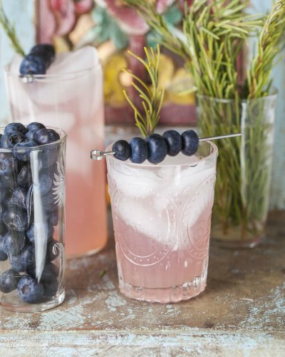 Easy Rosemary Blueberry Smash Mocktail